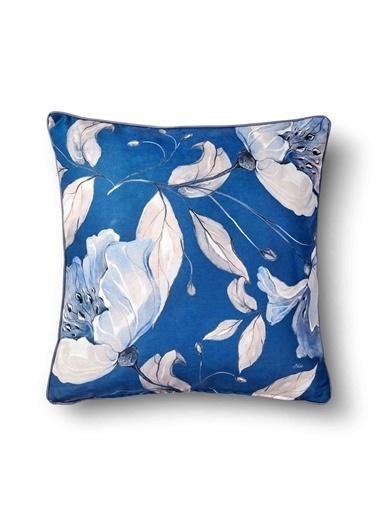 The Mia Flower Yastık - Koyu Mavi 50 x 50cm Mavi